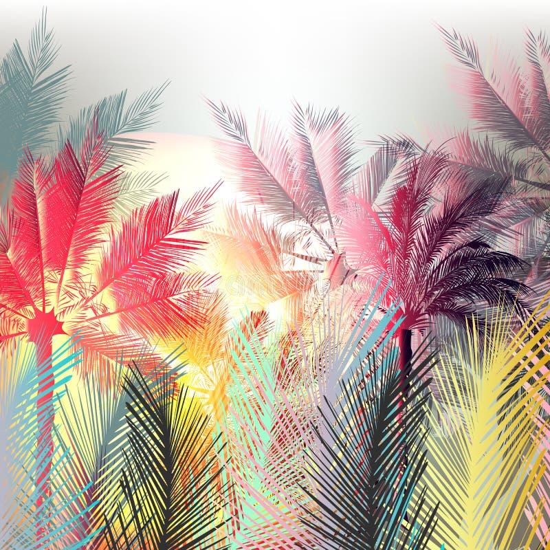 Ладони джунглей красочные и тропические заводы иллюстрация штока