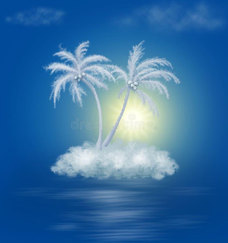 ладони острова облака мечт иллюстрация вектора