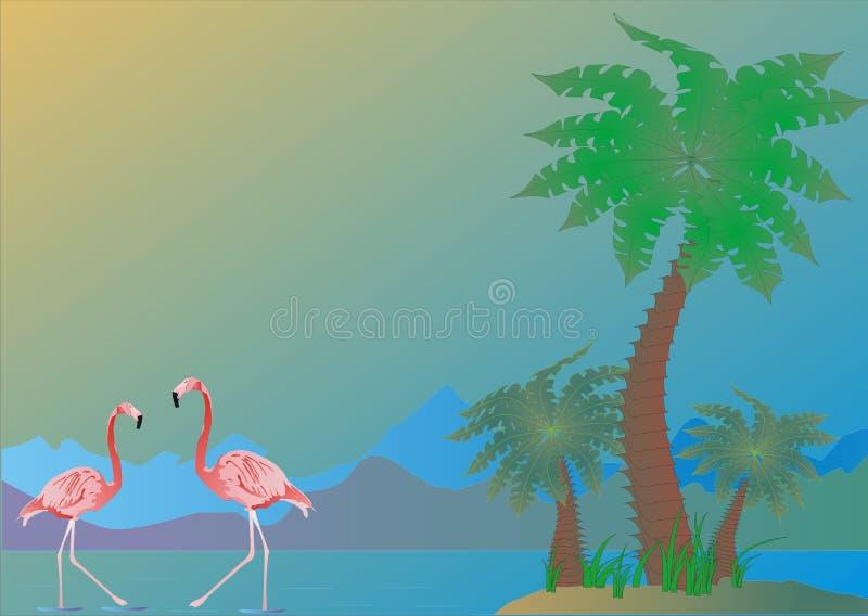 ладони фламингоа иллюстрация штока