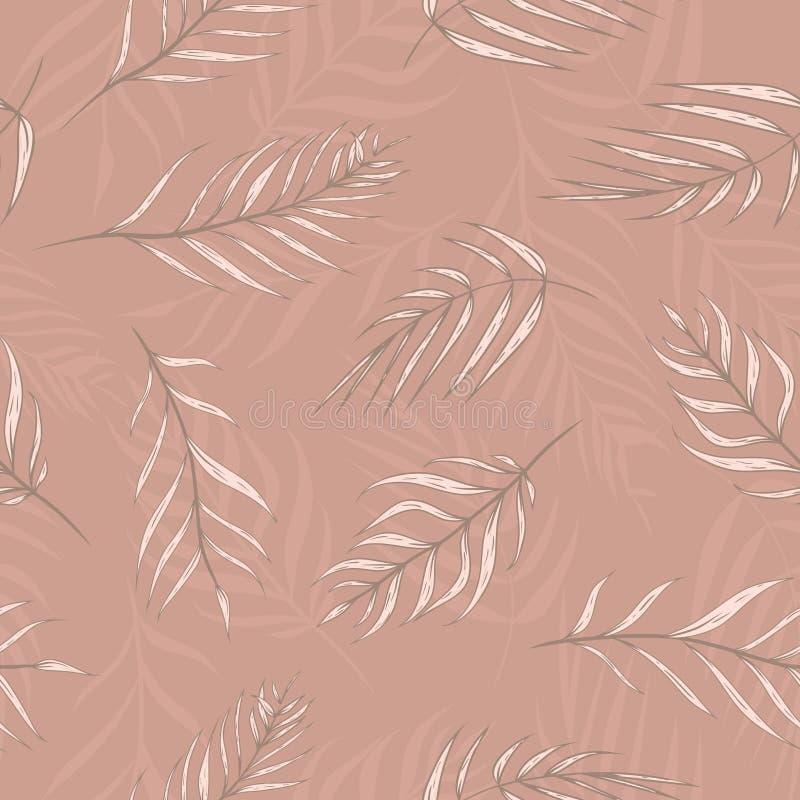 Ладонь вектора тропическая выходит в предпосылку картины абрикоса бежевую безшовную иллюстрация штока