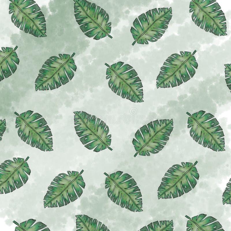 Ладонь выходит цифровая бумага, листья предпосылка ладони, текстура ладони лета иллюстрация штока