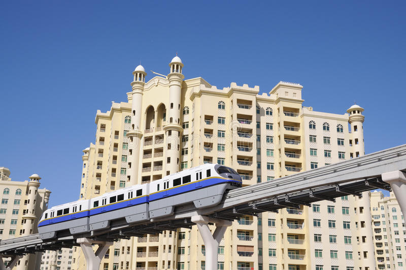 ладонь монорельса jumeirah Дубай стоковое фото rf