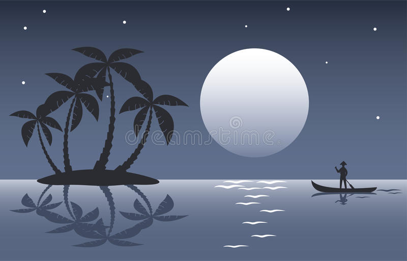 ладонь ночи острова тропическая иллюстрация штока