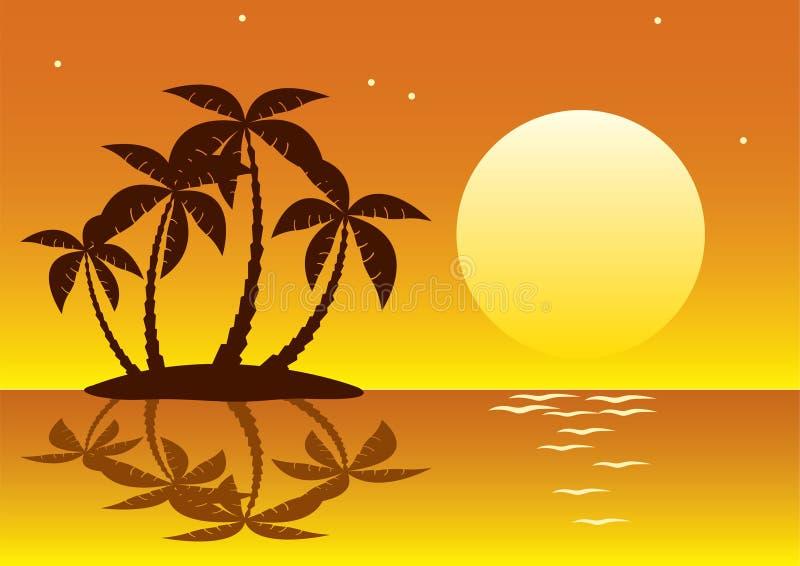 ладонь острова тропическая иллюстрация вектора