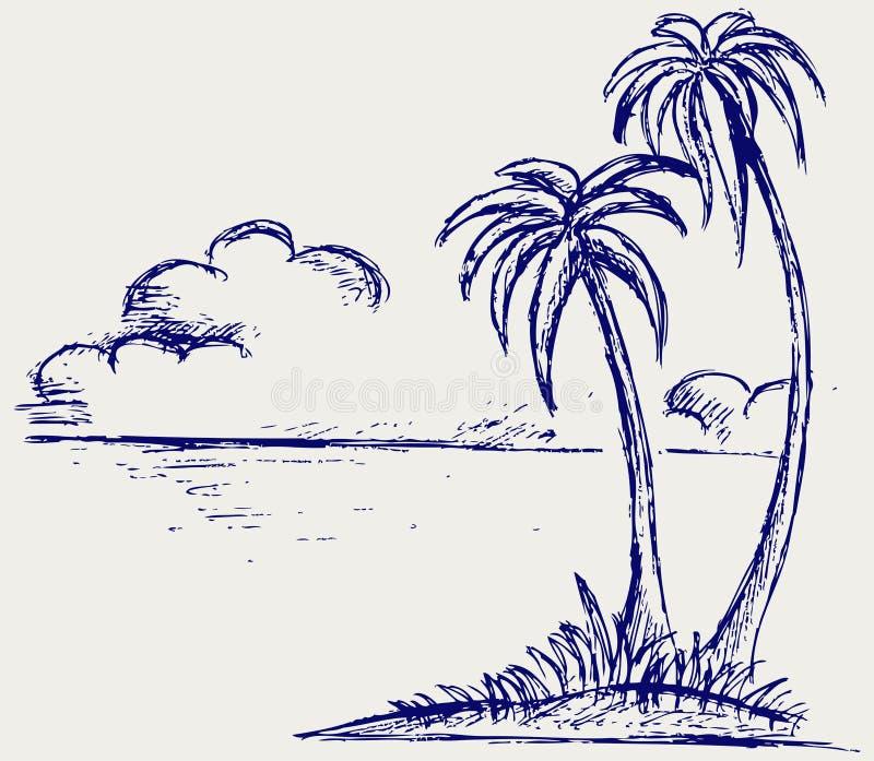 Ладонь острова иллюстрация вектора