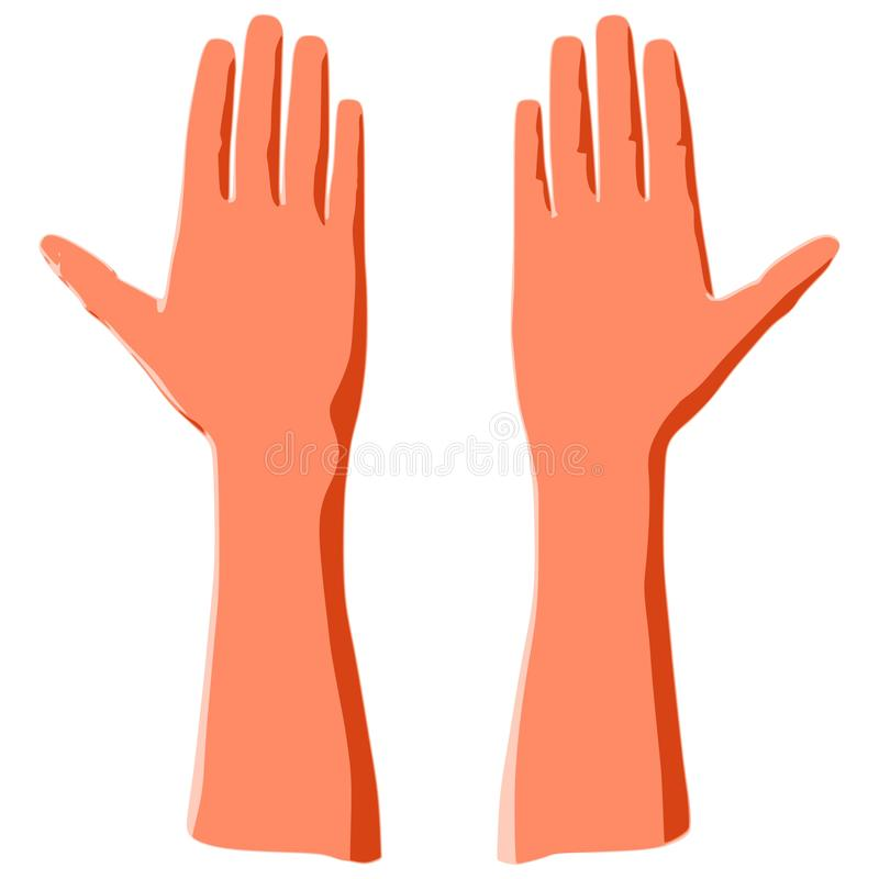 Ладонь человека руки как концепция жеста или голосования мира иллюстрация штока