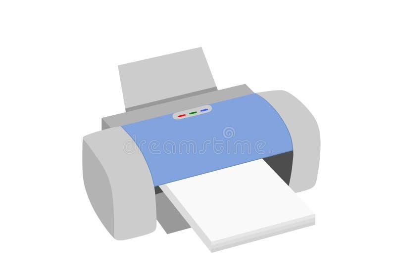 Лазерный принтер с бумажным изображением изолированным clipart иллюстрация штока