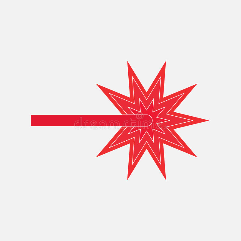 Лазерный луч красного цвета значка иллюстрация вектора