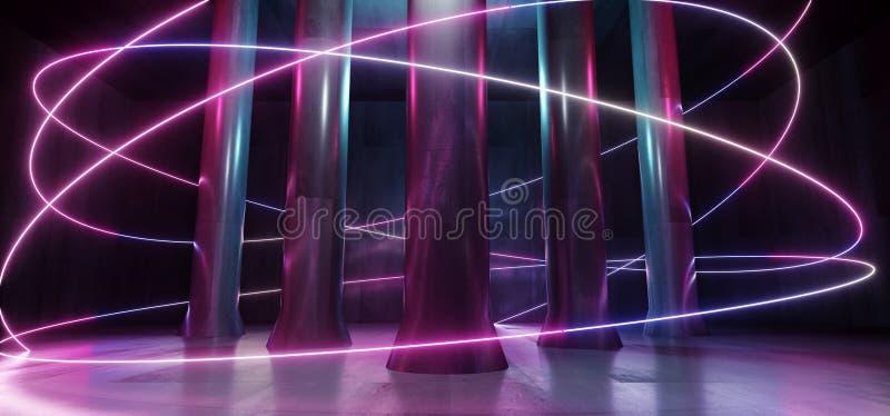 Лазерных лучей подземного гаража тоннеля коридора Grunge столбца фантазии космического корабля чужеземца Hall неоновых свет синь  бесплатная иллюстрация