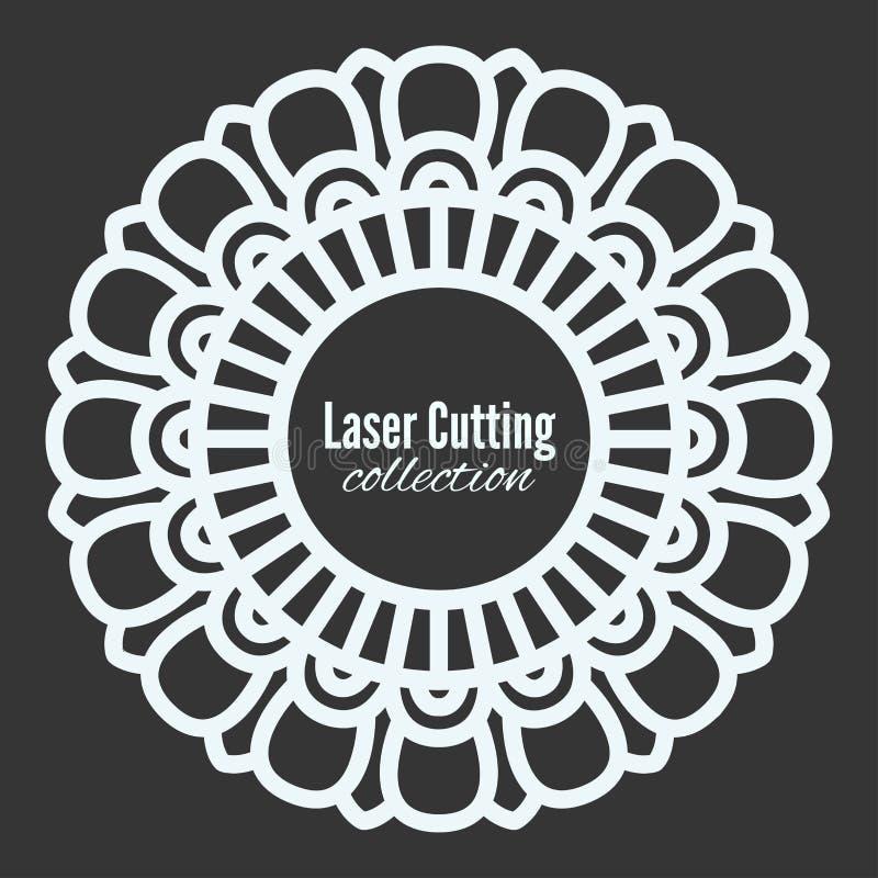 Лазер вектора отрезал рамку шаблона Флористическая мандала для прокладчика Сделайте по образцу домашнее украшение, витрину магази иллюстрация вектора