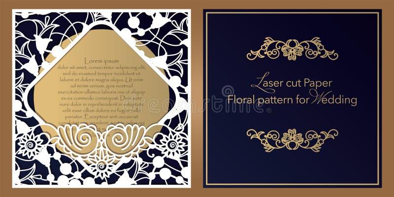 Лазер отрезал бумагу для свадеб Конверт флористического дизайна, приглашение, значок, квадратная рамка для подарка и поздравления иллюстрация вектора