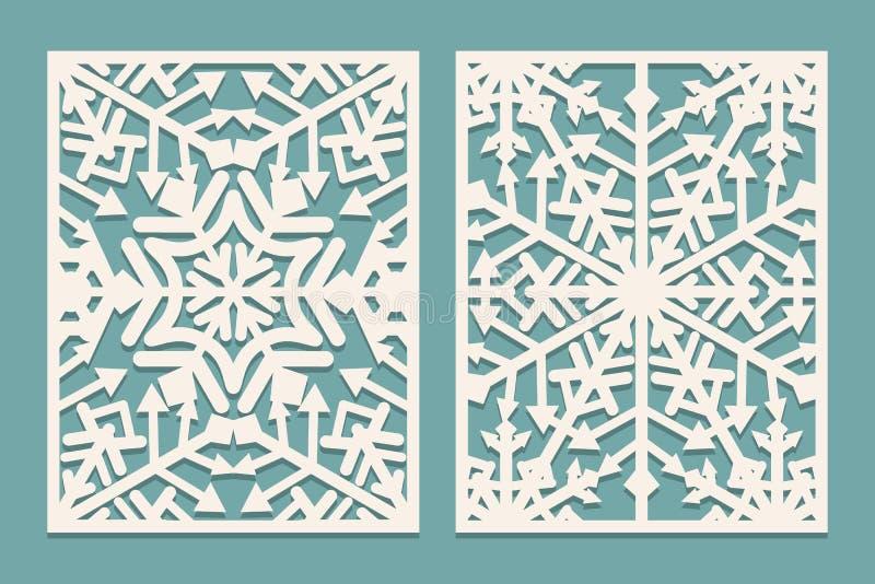 Лазер отрезал панели с картиной снежинок для карт рождества бумажных, элементов дизайна, scrapbooking бесплатная иллюстрация