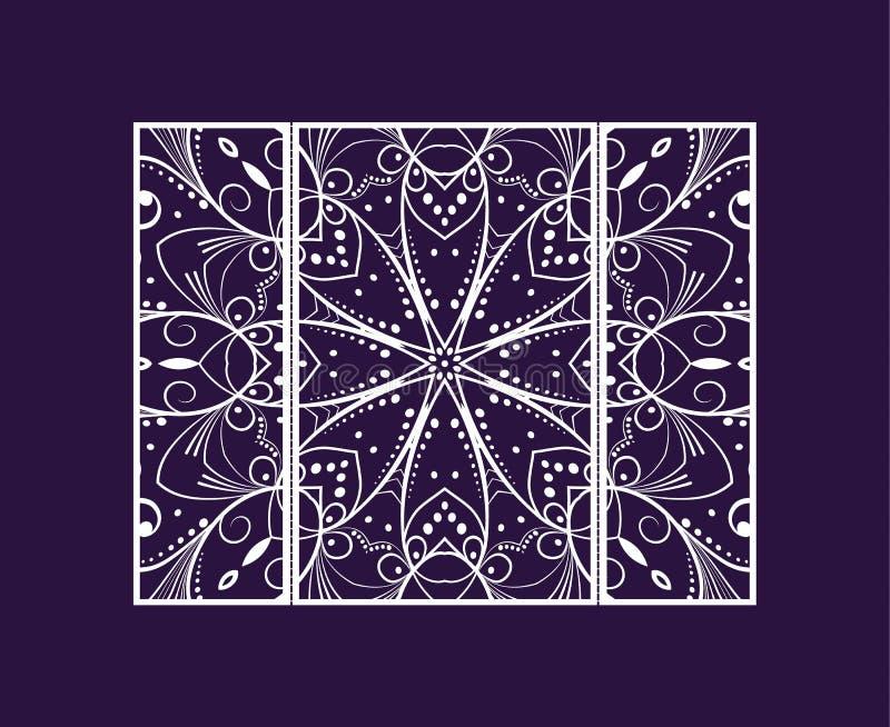 Лазер рогульки отрезал мандалу Отрежьте бумажную карточку с картиной шнурка Приглашения свадьбы, открытки и шаблоны визитных карт иллюстрация вектора