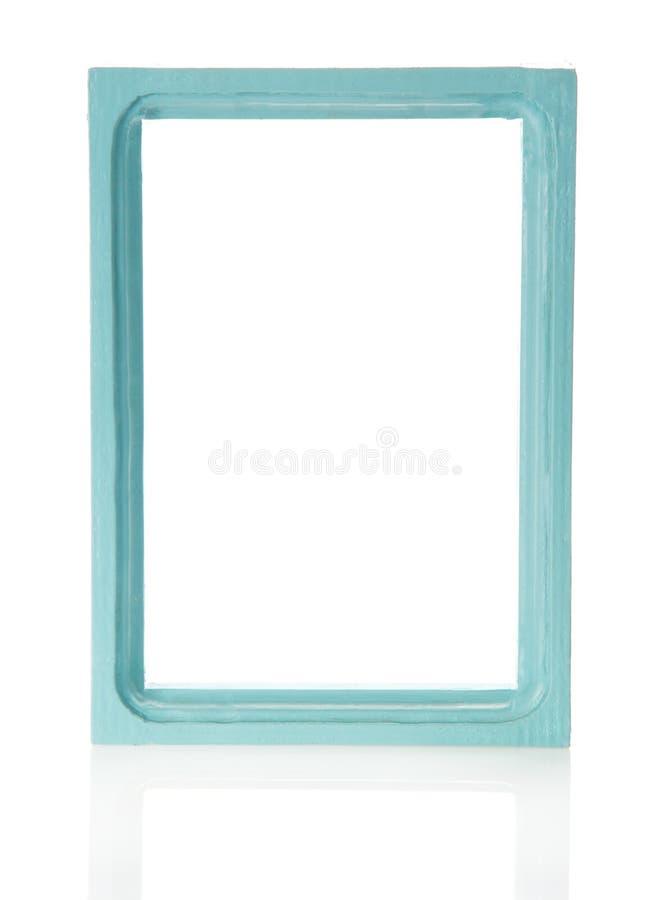 Лазурная деревянная рамка для изображений или фото стоковые изображения