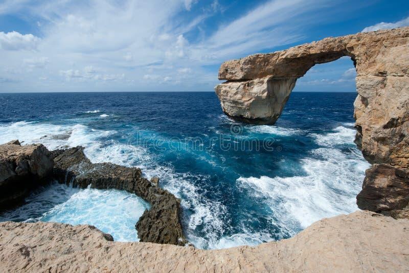 Лазурное окно в Gozo, Мальте стоковые изображения
