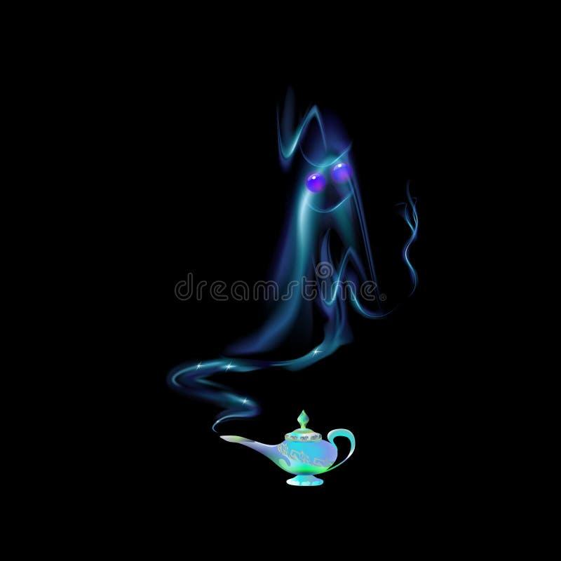 Лазурь, лампа бирюзы волшебные и силуэт арабского джина на предпосылке чернят сказ Свет иллюстрации вектора шаржа - голубой co иллюстрация штока