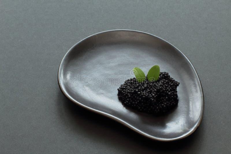 лакомка Черное соленое sterlet икры украшенное с листьями мяты на черной керамической плите необыкновенной формы на черной предпо стоковые изображения rf