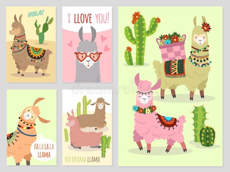 Лама Альпака лам младенца милая и верблюд Перу кактусов дикий, набор вектора приглашения партии девушки иллюстрация штока