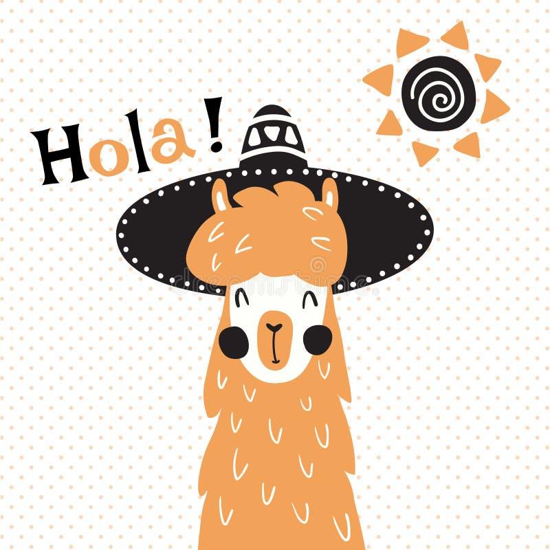 Лама в шляпе иллюстрация штока