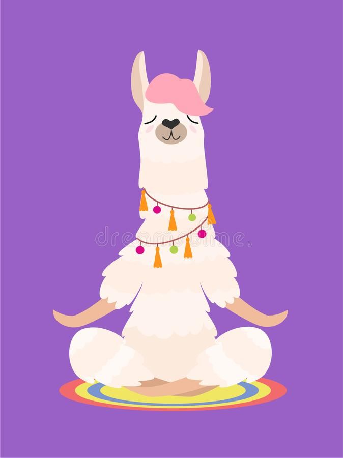 Лама йоги размышляет изолированный на фиолетовой предпосылке также вектор иллюстрации притяжки corel иллюстрация вектора