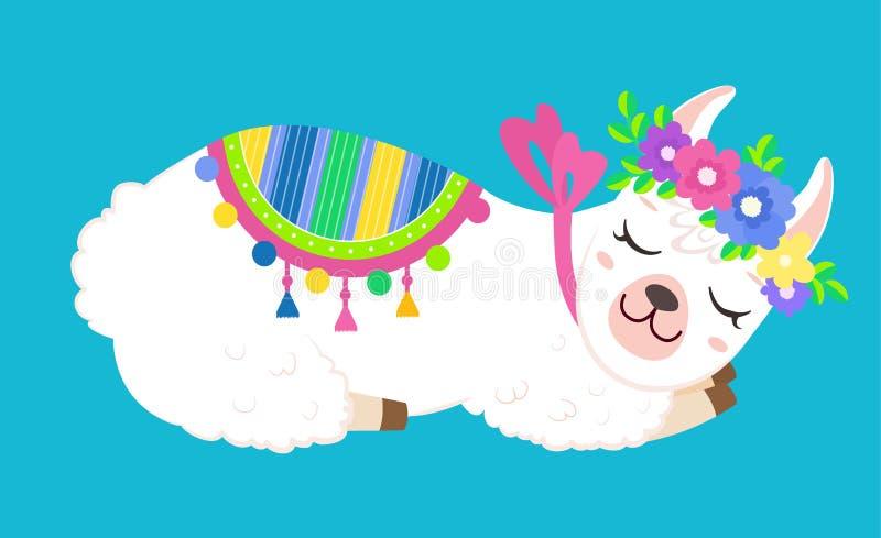 Лама смешной спать белая с красочными цветками иллюстрация вектора