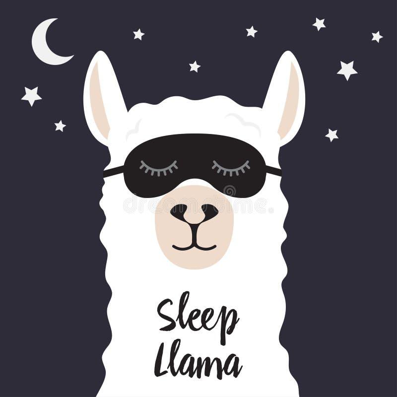 Лама спать также вектор иллюстрации притяжки corel иллюстрация штока