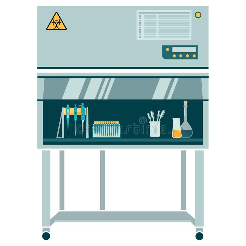 Ламинарная коробка с labware иллюстрация вектора
