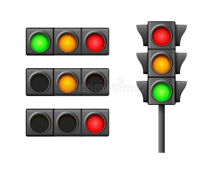 Лампа значка уличного движения светлая Направление светофора регулирует символ безопасности Предупреждение управлением транспорта иллюстрация вектора