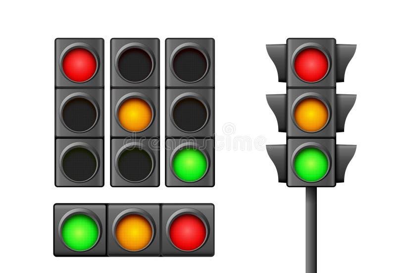 Лампа значка уличного движения светлая Направление светофора регулирует символ безопасности Предупреждение управлением транспорта иллюстрация штока