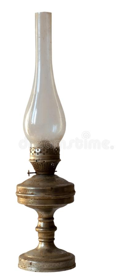 Лампа керосина, керосин, белая предпосылка, пробел, одиночный, силуэт, свет, огонь, стекло, утюг, ретро, античный, фитиль, сажа,  стоковая фотография