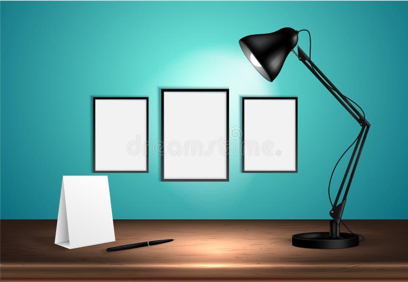 лампа стола 3d на деревянном столе освещает вверх пустые плакаты на стене также вектор иллюстрации притяжки corel Скопируйте косм иллюстрация вектора