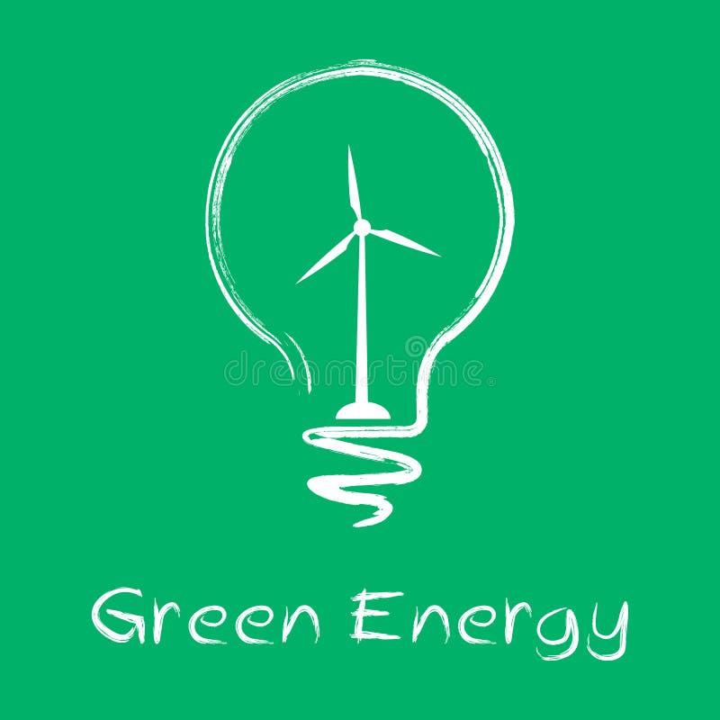 Лампа энергии вектора зеленая иллюстрация вектора