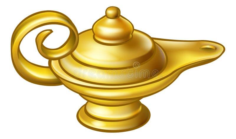 Лампа Aladdin античного золота волшебная иллюстрация вектора