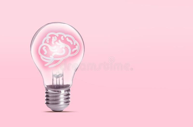 Ламповая лампа с мозгом человека на заднем плане, пространство для текста Идеальное поколение стоковые изображения rf