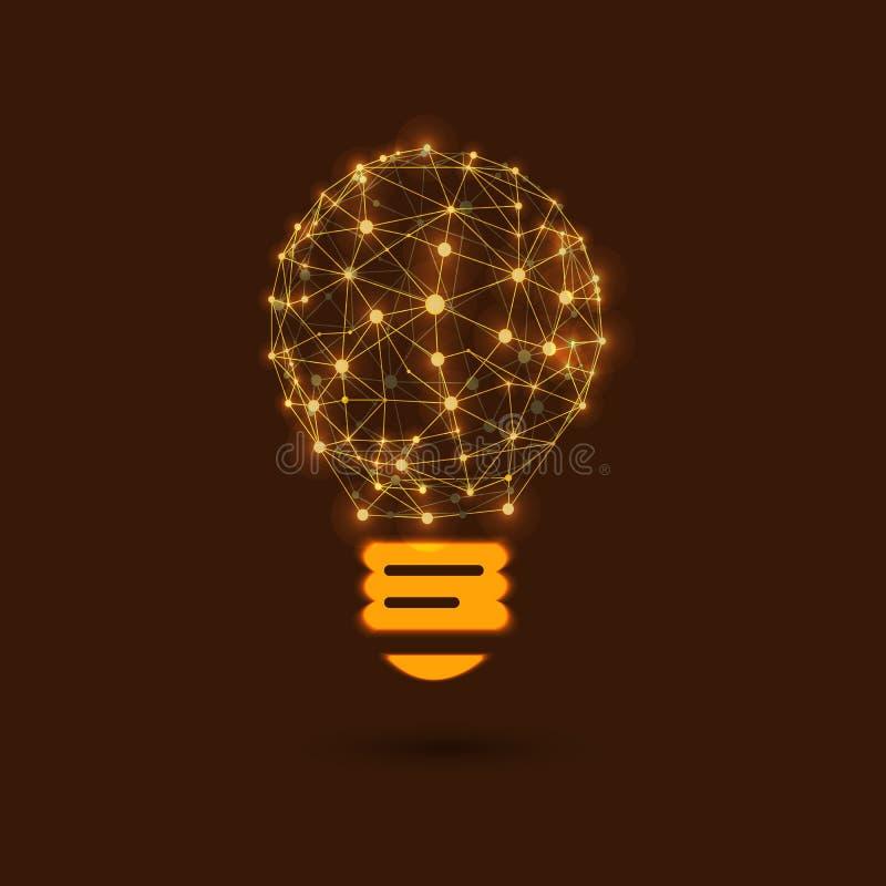 Лампочка ВЕКТОРА сияющая, новая идея, сеть, соединенные накаляя точки бесплатная иллюстрация
