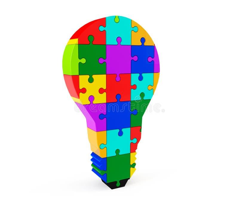 Лампочка головоломки иллюстрация штока