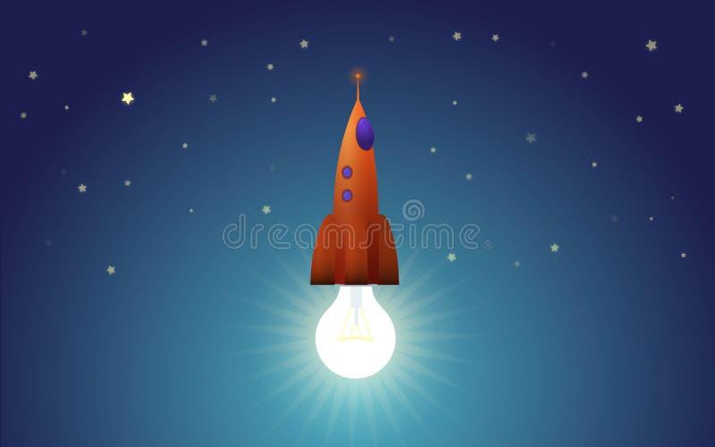 Лампочка как реактивный двигатель startup ракеты иллюстрация штока