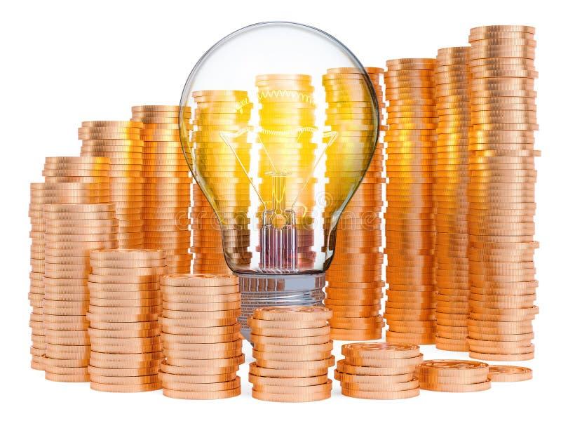 Лампочка с растя диаграммой от золотых монет вокруг Сохраняя концепция энергопотребления r иллюстрация штока