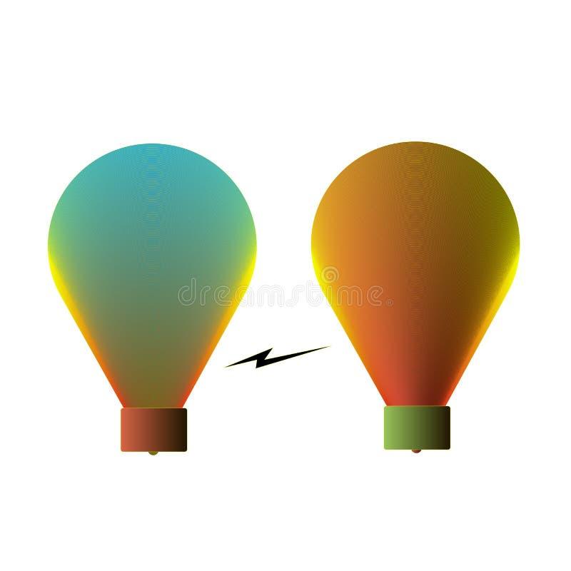 2 лампы как идея иллюстрация штока