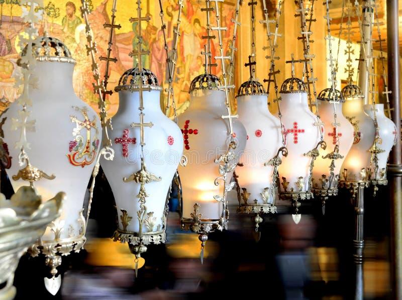 Лампы камня мазать Святая церковь Sepulchre Иерусалим стоковые изображения