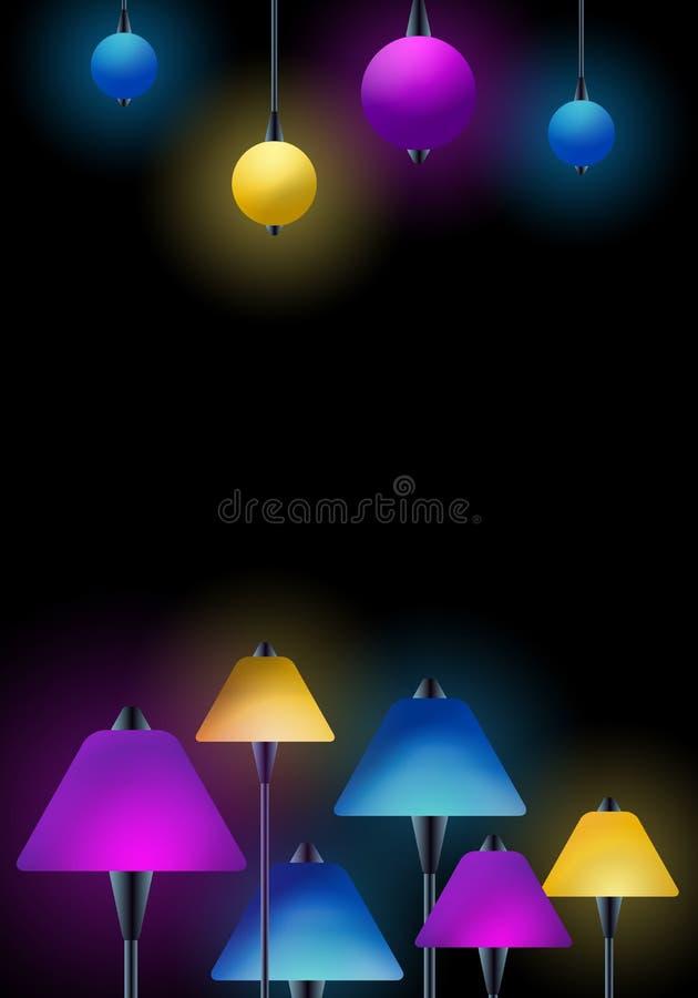 Лампы - клуб   дизайн предпосылки фары бара иллюстрация вектора