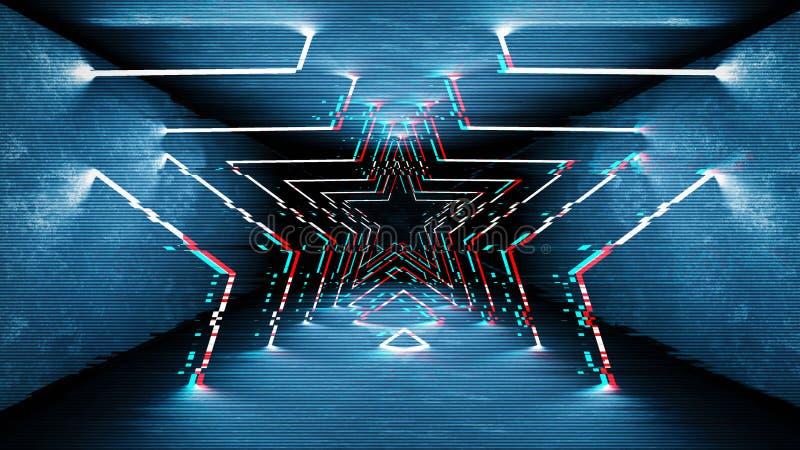 Лампы неона влияния небольшого затруднения конструируют Геометрический ультрамодный минимальный дизайн Предпосылка небольшого зат стоковые фотографии rf