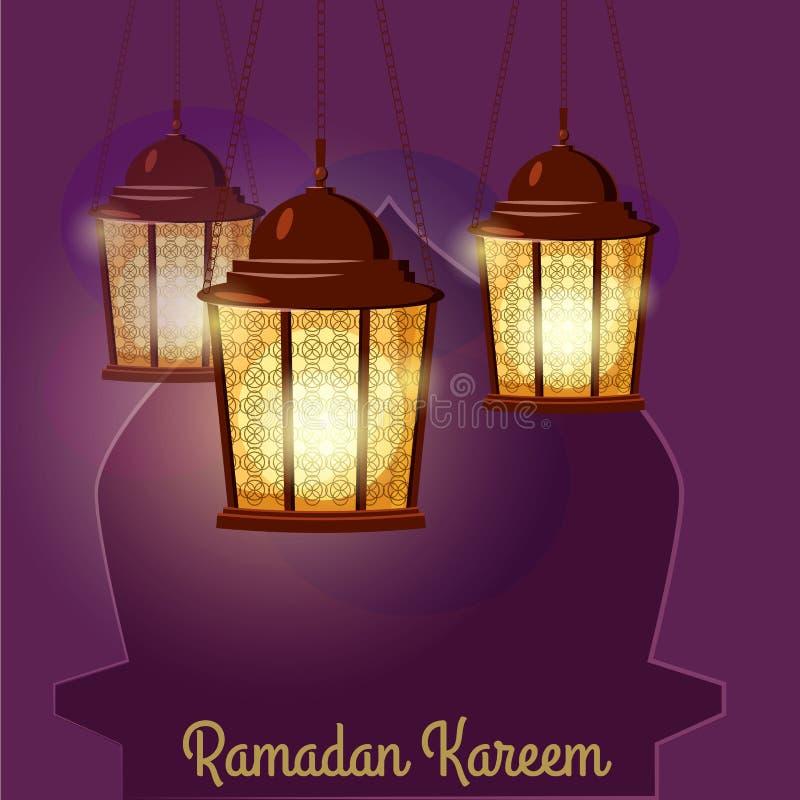Лампы приветствиям Рамазана Kareem затейливые арабские, иллюстрация вектора иллюстрация штока