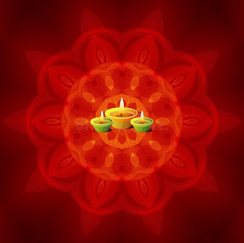 Лампы Diwali на предпосылке мандалы бесплатная иллюстрация
