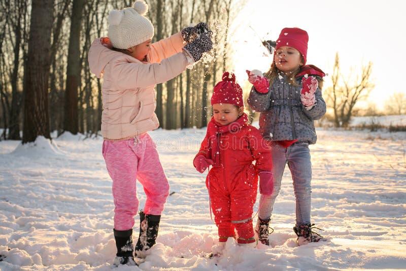 ландшафта часы зимы сезона играть снежок стоковое изображение