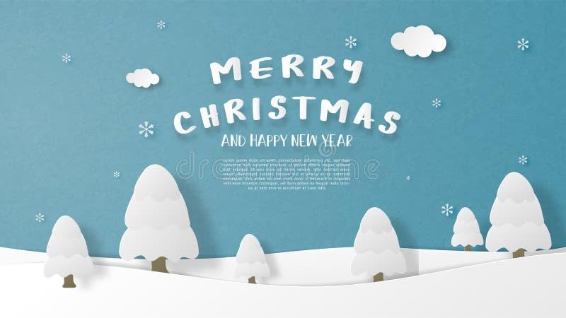 ландшафтный зимний сезон с сосновым деревом и падающим снегом и облаками в стиле реза на бумаге Иллюстрация вектора обои, иллюстрация штока