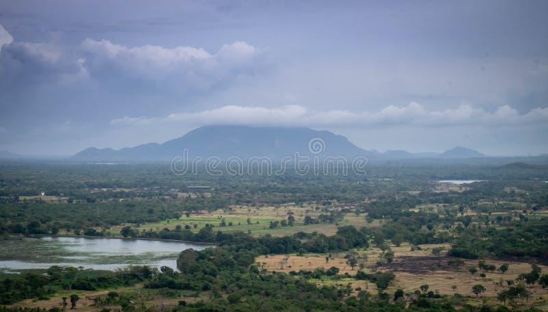 Ландшафтный лес и горный вид на Сигирию, Шри-Ланка стоковая фотография rf