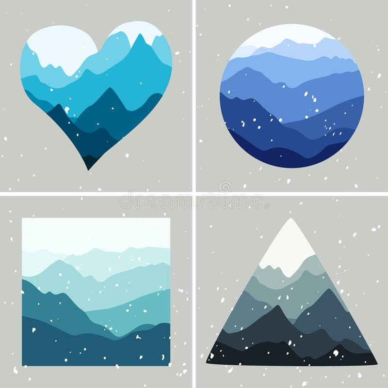 Ландшафты гор в формах сердца, круга, квадрата и треугольника Различные сезоны года иллюстрация вектора
