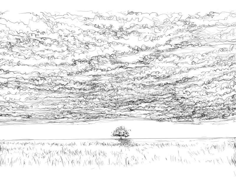 Ландшафты с облаками и облаками иллюстрация вектора
