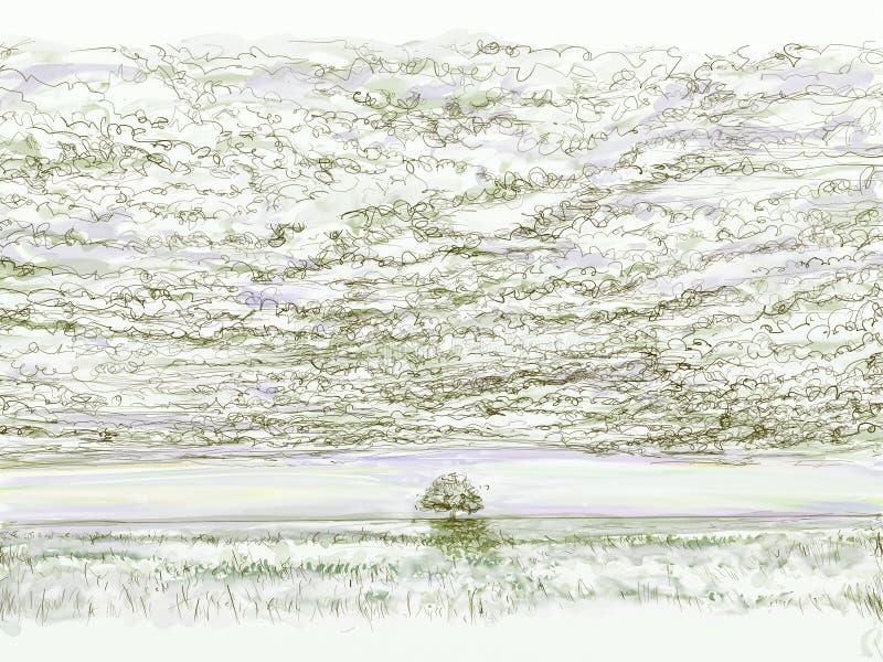 Ландшафты с облаками и облаками иллюстрация штока